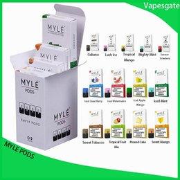 Vente en gros Myle Pods pour Myle Vape Starter Kit Batterie Dispositif Pods jetables compatibles Cartouches 13Flavors vs eon zlab ziip vgod stig