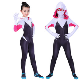 Wholesale zentai lycra mask for sale – halloween New Spider Gwen Mask Cosplay Stacy Spandex Lycra Zentai Spiderman Costume For Halloween Women Female Spider Suit Anti Venom