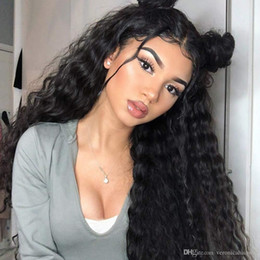 glueless lace wigs loose curl NZ - Natural Black Long Loose Curly Lace Front Wigs for Women Glueless Kinky Curls Synthetic Wigs with Baby Hair Heat Resistant Fiber Hair