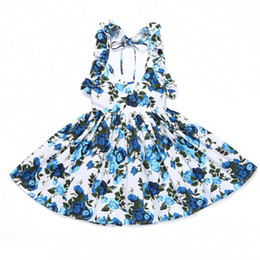 78384948fbe0 2019 New Summer Baby Girls Dress Beach Style Floral Print Backless Dresses  For Girls Vintage Toddler Girl Clothing 1-8Yrs
