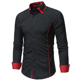 $enCountryForm.capitalKeyWord Australia - 2018 Fashion Brand Camisa Masculina Long Sleeve Shirt Men Korean Slim Double Collar Design Casual Dress Shirt Plus Size Black