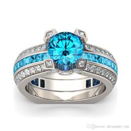 Princess Cut Sterling Silver Ring NZ - Fashion 925 Sterling Silver Princess-cut sky blue Topaz Diamond CZ Gemstone Rings set Engagement Wedding Bride Band Rings Finger for Women