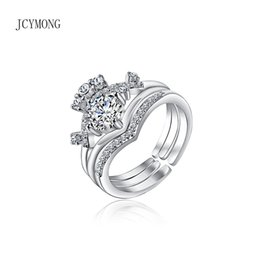 Discount desing fashion - JCYMONG New Fashion Desing Three In One Crown Open Rings Silver Color Shining Cubic Zirconia Finger Ring Female Wedding