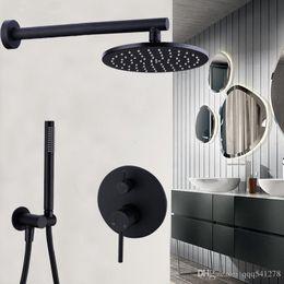 "Contemporary Metal Wall Australia - Brass Black Bath Faucets 8-12"" Rain Shower Head Bathroom Shower Set Diverter Mixer Valve Shower System Wall Mounted"
