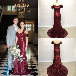 cheap mermaid sequin prom dresses Canada - cheap burgundy mermaid sequins prom dresses off the shoulders sparkle shiny formal evening gowns long engagement Abschlussball 2019 dressses