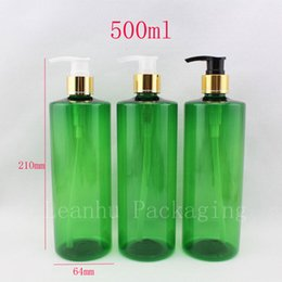 pump bottle plastic green 2019 - 500ml X 12 empty green plastic lotion tubes ,lotion pump cosmetic container bottles , refillable lotion tube bottles wit