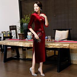 Sexy Spring Velour Cheongsam Traditional Chinese style Long Dress 2019  Womens Mandarin Collar Qipao Slim Party Dresses Vestido 10dc35063cb1