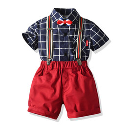 Wholesale birthday shirt for children for sale - Group buy Children s clothing dress suit birthday party outfit boy bow tie check shirt bib gentleman suit Gifts for children