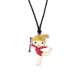 Gymnastics Pendants Australia - Fashion Studded With Crystal Gymnastics Girl Charm Pendant Cartoon Girl Sports Adjustable Rope Necklace