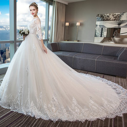 Tie Up Wedding Dress Train Australia - The new winter bride tying yarn luxury trailing a pregnant woman out long sleeve bigger sizes show thin