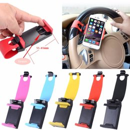 Discount steering wheel cell phone holder - Universal steering wheel Socket Cell Mobile Phone Holder Car Support for iphone for xiaomi GPS mount Clip rubber 55~85mm