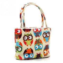 Owl Ladies Handbag Australia - Large Capacity Cartoon Owl Print Casual Tote Lady Canvas Beach Bag Female Handbag Daily Use Women Shoulder Shopping Bags