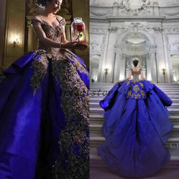 $enCountryForm.capitalKeyWord Australia - Royal Blue Ball Gown Prom Dresses Beaded Gorgeous Cap Sleeves Applique Lace Princess Church Engagement Evening Formal Quinceanera 2019 Dress