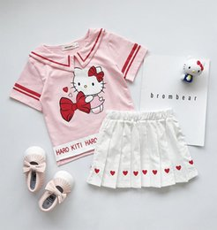 $enCountryForm.capitalKeyWord Australia - Preppy style kids princess outfits girls Bows cat letter printed stripe lapel short sleeve T-shirt+love heart pleated skirt 2pcs sets