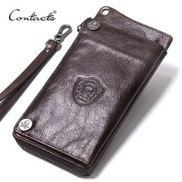 Luxury Credit Card Iphone Australia - Men's Wallet Genuine Leather Clutch Man Wallet Brand Luxury Male Purse Long Wallets Coin Purse Phone Pocket For iPhone X