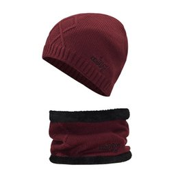 skull cycling set NZ - Winter Beanie Hat Scarf Set Adult Size Warm Knit Hat Thick Knit Skull Cap for Men Women