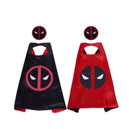 China 27 inch cartoon Deadpool superhero cape with mask for kids High-grade Satin double-layer superhero cosplay costumes cape kids party supplies suppliers