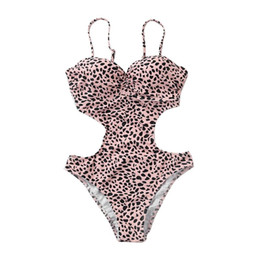 Chinese  Women Sexy Leopard Printed One Piece Bikini Deep V-Neck Spaghetti Straps Monokini Hollow Out Cut Off Waist Backless Swimsuit Hig manufacturers