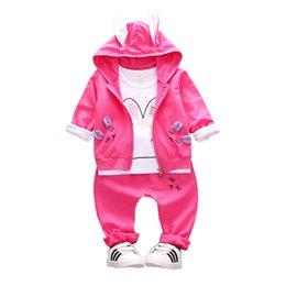Cartoon Rabbit Hoodies Australia - 2019 Autumn Children Girls Cotton Garment Baby Cartoon Rabbit Shape Hoodies Coat T-shirt Pants 3Pcs Set Kid Clothing Tracksuit