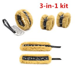 furry bondage restraints NZ - bdsm bondage kit restraints fetish furry wrist ankle cuffs cosplay dog collar with leash training sex toys for lady GN261500140