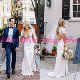 V Back Satin Wedding Dress Australia - Elegant Deep V Neck Open Back Wedding Dress Charming Lace Short Sleeve Elastic Satin Long Mermaid Wedding Bridal Gown