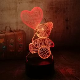 $enCountryForm.capitalKeyWord Australia - Cute New 2019 Baby Teddy Bear Hold Love Heart Balloon 7 Color Change Table Lamp 3d Led Night Light Decor Holiday Gift For Kids Q190611