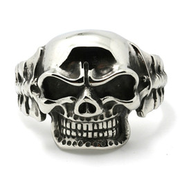 $enCountryForm.capitalKeyWord NZ - Huge & Heavy Mens Boys 316l Stainless Steel Cool Punk Gothic Big Evil Demon Skull Biker Silver Bangle New Y19051101
