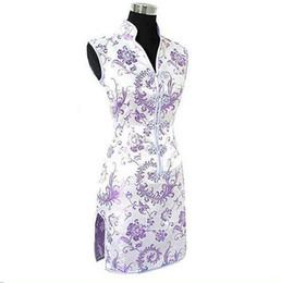 Mini satin cheongsaM online shopping - Promotion Purple Traditional Chinese Lady Silk Cheongsam Qipao Prom Club Dress Totem flower Size S M L Xl Xxl Xxxl Wc173