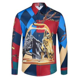 double shirt designs Australia - Men's Design Dress Shirts Fashion Gold Floral Harajuku Print Shirt Men Long Sleeve Medusa Shirts Casual Shirts