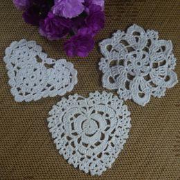 $enCountryForm.capitalKeyWord UK - Wholesale 3 Design Crochet pattern Doily Coaster Heart-shaped cup mat Pad Applique Pinointed star Applique Pink White Ecru 10-12CM 30pcs LOT