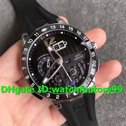 Luxury Watches Black Gmt Australia - TWA Top Luxury El Toro 322-00-3 Watch Stainless Steel Case All Working GMT Calendar Black Dial Rubber Strap Swiss UN-32 Automatic Mens Watch