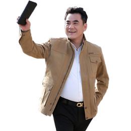 $enCountryForm.capitalKeyWord Australia - Mature Men Leisure Coats Stand Collar Multi Pockets Design Cotton Jackets Male Spring Autumn Casual Outerwear Man Garment Khaki