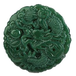 Jade Carved Face Pendant Australia - Koraba Fine Jewelry 100%Hand polished Natural green jade Hand carved Dragon Spit beads Necklace pendant Free Shipping