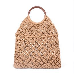 $enCountryForm.capitalKeyWord Australia - Popula Cotton Rope Hollow Straw Bag Sheer Macrame Tote wooden ring rattan handle Net Bag Vintage Retro Chic handbag Y190606