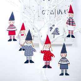 $enCountryForm.capitalKeyWord Australia - 2pcs Wooden Boy Girl Christmas Pendant Creative Christmas Tree Hanging Ornaments Window Display Xmas Party Decoration Kids Toy