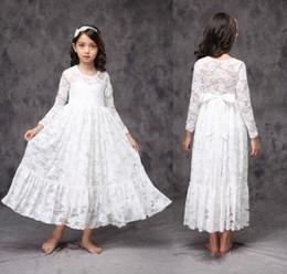 Little Girls White Lace Dresses Australia - White Ivory Flower Girl Dress Little Baby Lace Dress First Communion Dress Bridesmaid Wedding party Long Sleeve Custom Size