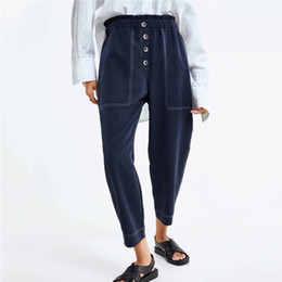 Discount stylish trousers women - Women Stylish Ankle Length Harem Pants Pockets Buttons Decorate Elastic Waist Female 2019 Casual Wear Trousers 9034