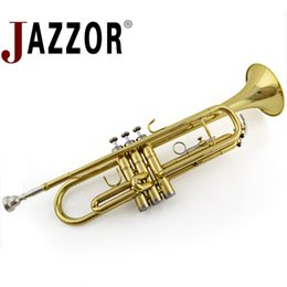 Lacquer Silver Australia - JAZZOR JBTR-300 B Flat Gold Lacquer trumpet with case mouthpiece musical instruments gold silver color