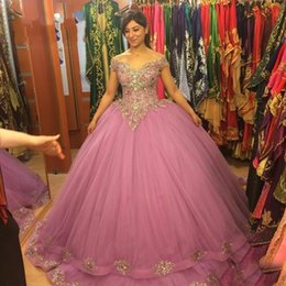 Roses aRt online shopping - 2020 Fashion Dusty Rose ball Gown Cheap Quinceanera Prom dresses Off shoulders with Sleeves Crystal Beaded New Evening Party Sweet dress