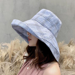 $enCountryForm.capitalKeyWord NZ - SUOGRY Women Cotton Bucket Hats For Women Plain Lattice Caps Fashion Street Hip Hop Cap Sunscreen Fisherman Cap Panama Hat
