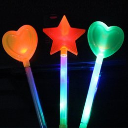 led fairy wands NZ - Led Glow Stick Star Love Heart Light-up Wands Led Flashing Sticks Fairy Wand Sticks Cheer Props Gift For New Year Party Supplies