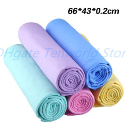 clean chamois towel Canada - 50pcs lot 66x43cm Super Absorption Synthetic Deerskin Imitation buckskin PVA Chamois Cham Car Wash Towel Auto Clean Towel