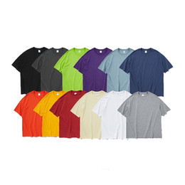 Wholesale cotton candy tee shirt online – design Mens Candy Colour Cotton Oversized Fashion Hip Hop T Shirts Casual Tee Solid Loose Fit Basic Tee Unisex Couple Tops