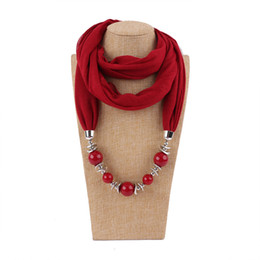 Pendant Scarves For Woman New Fashion National Wraps Luxury High Quality Acrylic Beads Multicolor Plain Warm Pashmina on Sale