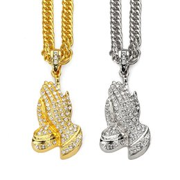 golden chain necklace men NZ - 35.4inch Women Men Praying Hands Steel Pendants Blings Crystal Buddha Necklaces Golden Prayer Jesus Jewelry Gift Chains C19041601