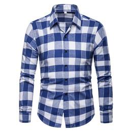 men s red satin shirt 2019 - Casual Men Shirts Men's Clothing Fashion Plaid Shirt Men's Blouse Long sleeve Black Red Blue New cheap men s r