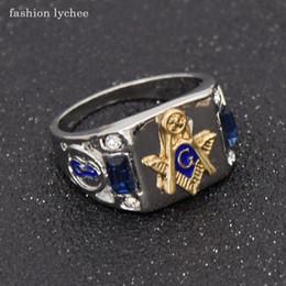 Freemason Rings Wholesale Australia - fashion lychee Freemason Blue Crystal Men Ring Punk Style Masonic Fashion Biker Finger Rings Jewelry Gift