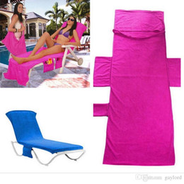 Pool Lounging NZ - Microfiber Beach Chair Cover Pool Lounge Chair Cover Blankets Portable With Strap Beach Towels Double Layer Thick Blanket 73*210cm 1pcs