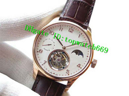 $enCountryForm.capitalKeyWord NZ - V6 Luxury Mens Watch Swiss Tourbillon Manual Winding Moonphase Power Reserve Rose Gold Case White Dial Leather Strap transparent case back