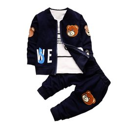 Tracksuits Boy Child NZ - BibiCola Baby Boy Clothing Sets Kids 3PCS Coat+T-shirt+Pants Children Clothes For Spring Autumn Bebe boy Outfits Bib Tracksuit